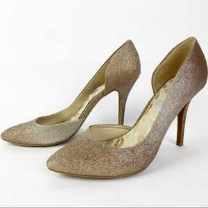 Juicy Couture Gold Glitter Heels Pointed Toe 10
